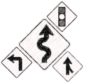 Road signs grouped