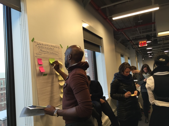 Educators at the January 2015 Hive NYC meet-up brainstorm indicators for Connected Learning